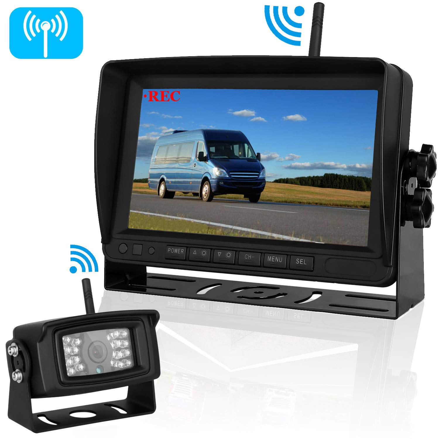 Upgraded Digital Wireless Backup Camera 7'' Monitor Rear View System Split Screen Recorder for RV/SUV/Pickup/Truck/Trailer/Vehicle Rear/Side/Front View Driving&Reversing