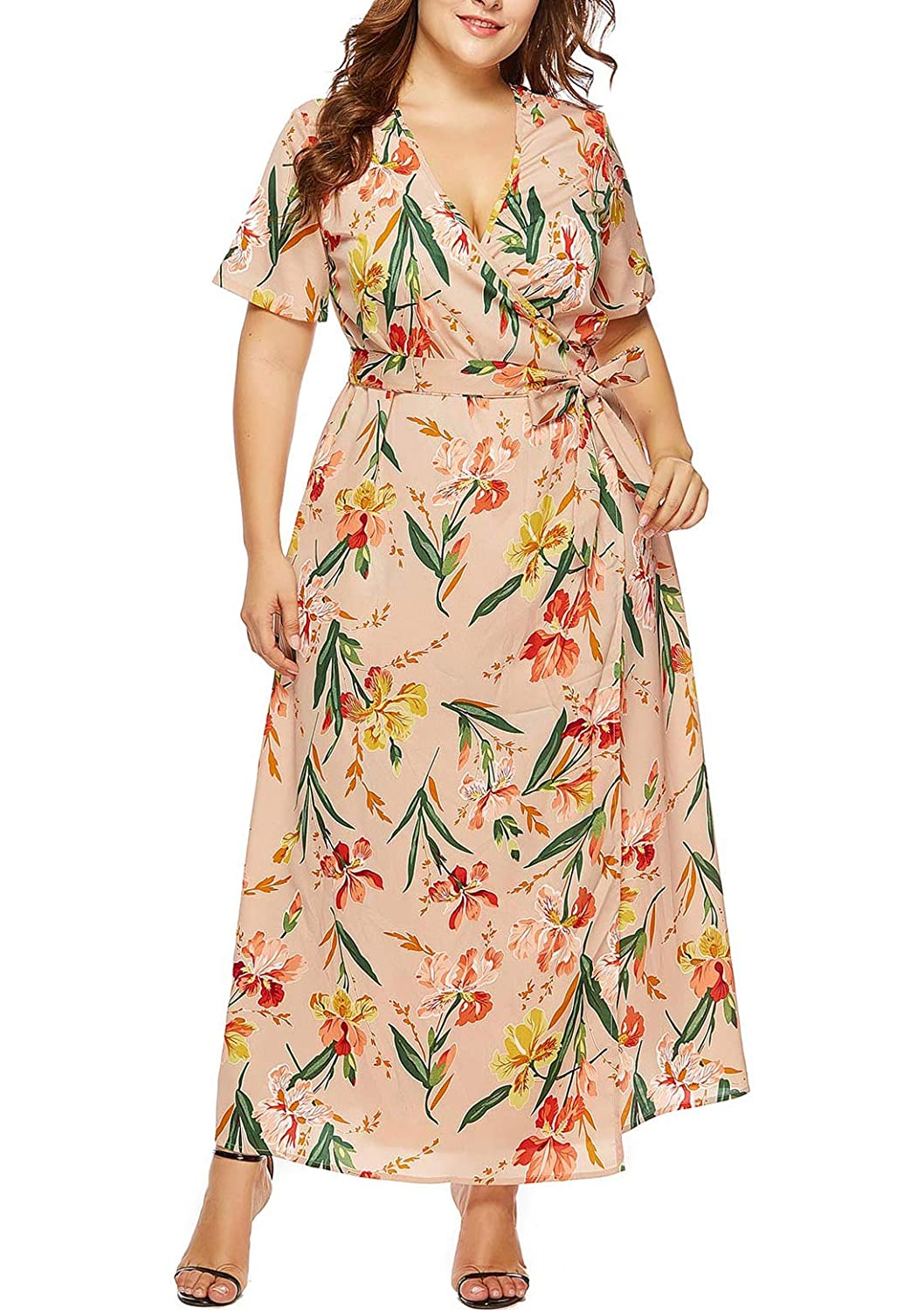 FEOYA Women\'s Plus Size Floral Wrap Dress Summer Casual V Neck Maxi ...