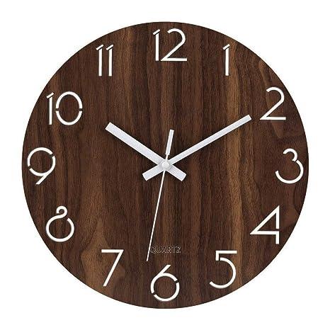"""Foxtop 12""""Reloj de Pared Redondo Decorativo de Madera del Estilo Toscano del país rústico"""