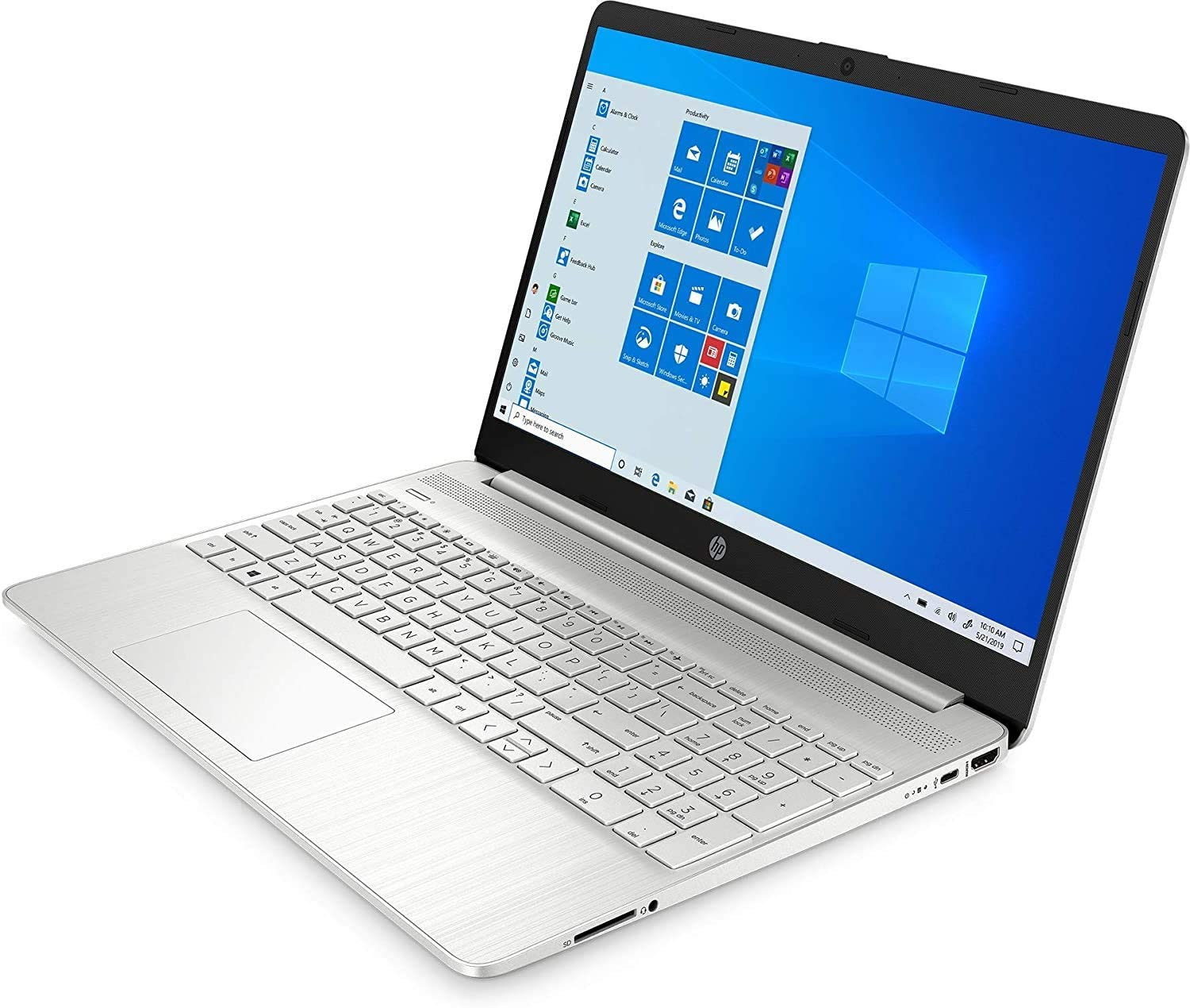 HP 15.6-inch FHD Touchscreen Laptop 256GB SSD 1.3GHz i7 12GB RAM (i7-1065G7 up to 3.9GHz, USB-C, HDMI, Windows 10 Home) Natural Silver 15-dy1079ms
