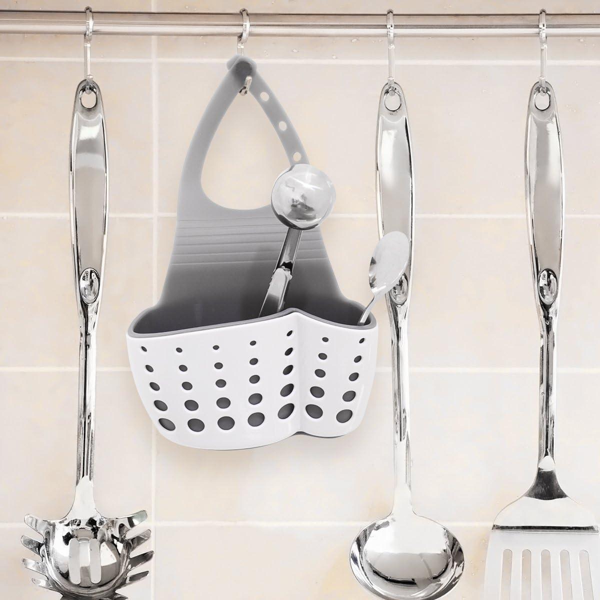ounona titular organizador Caddy fregadero de cocina esponja soporte de drenaje escurridor blanco