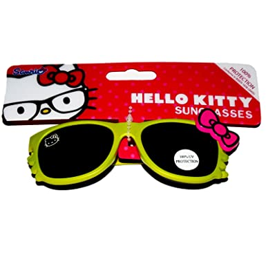 ca3b604f88 Official Licensed Girls Hello Kitty Lime frame Sunglasses Age 6+ 100% UV  PROTECTION  Amazon.co.uk  Clothing