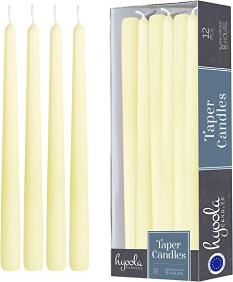 Party or Wedding Candles Decor Ivory Candles CANDWAX 8 inch Taper Candles Set of 12 Dinner Candles Dripless Tall Candles Long Burning Perfect for Dinner