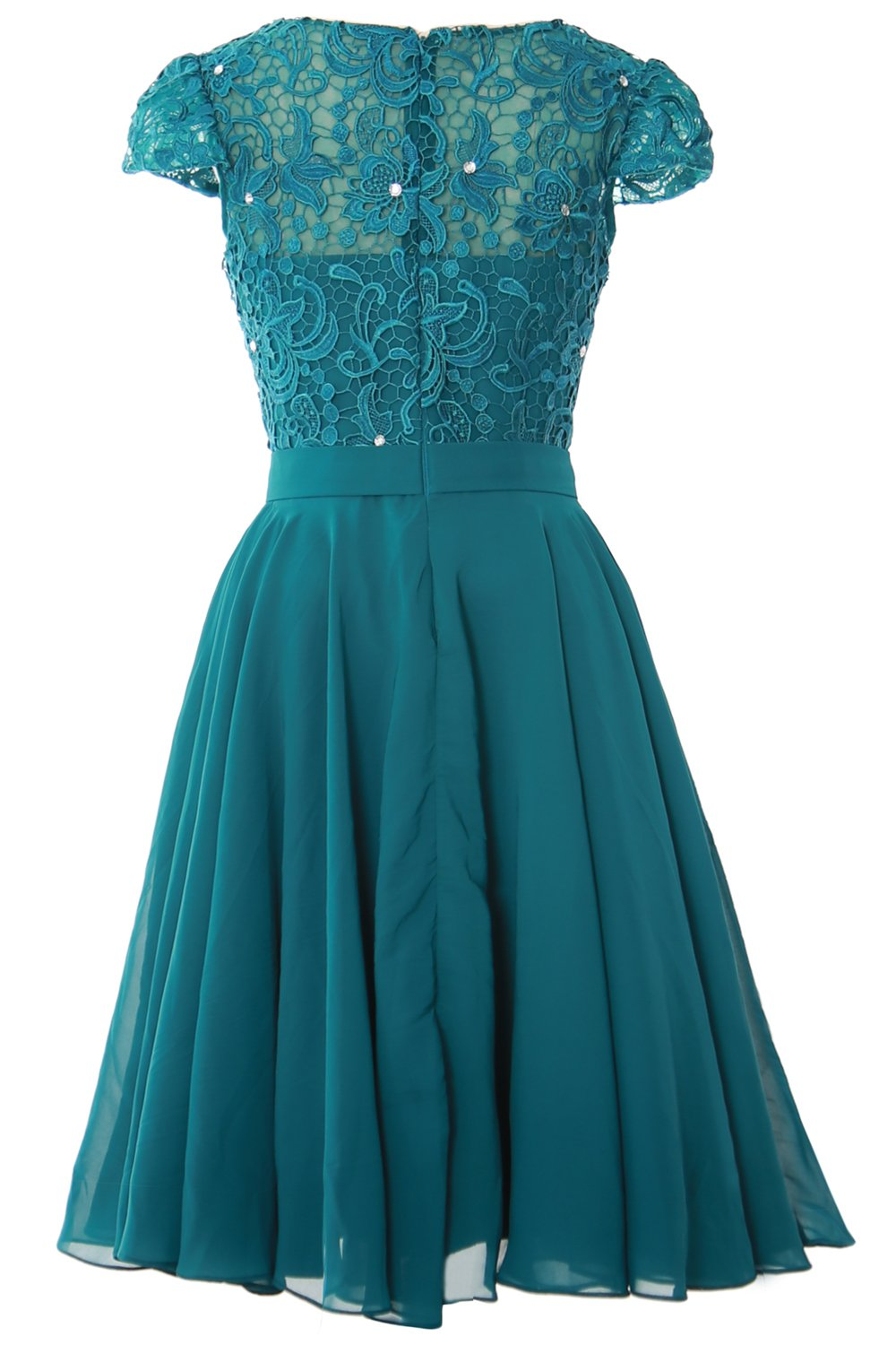 MACloth Women Cap Sleeve Mother of The Bride Dress Lace Short Formal Party Gown (24w, Amethyst) by MACloth (Image #2)