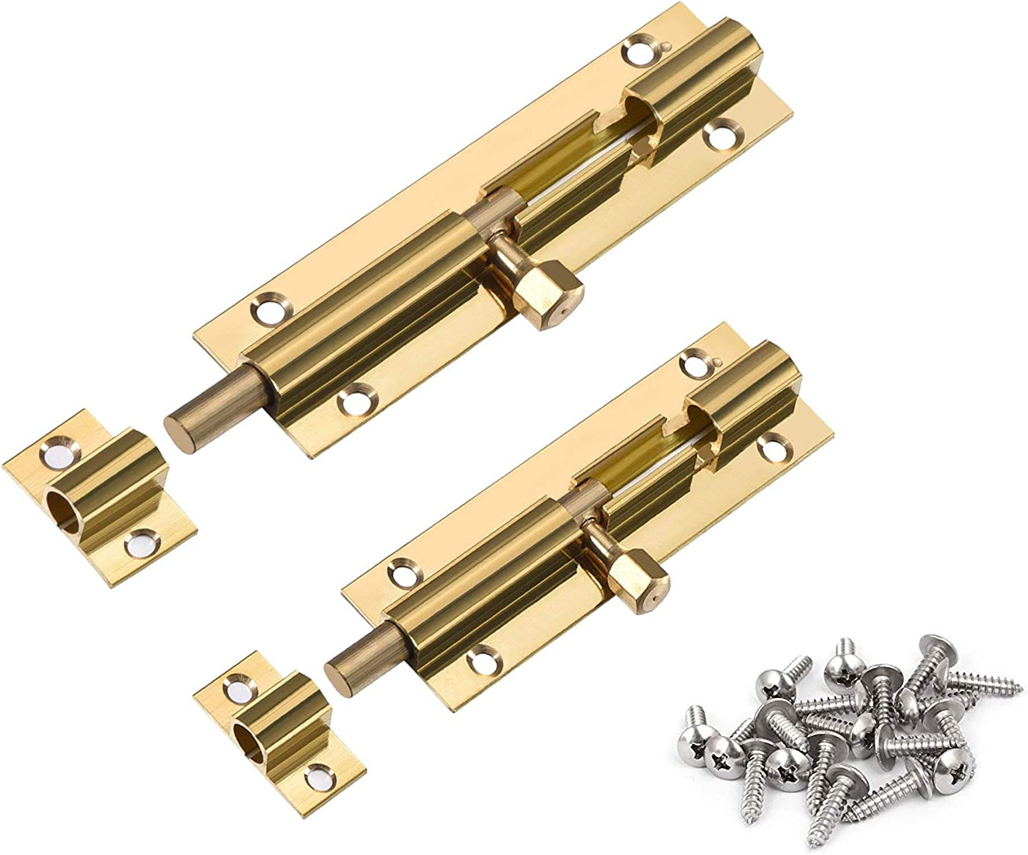 Karcy 4 inch /& 3 inch Thickened Brass Barrel Slide Lock Door Bolt with Mounting Screws