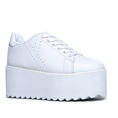 4e35315639 Amazon.com | YRU Lala - White High Platform/Wedge Sneaker | Fashion Sneakers