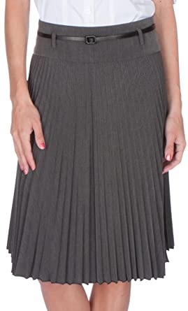 1aeab4a23046 Sakkas FV3543 Knee Length Pleated A-Line Skirt with Skinny Belt - Grey/Small