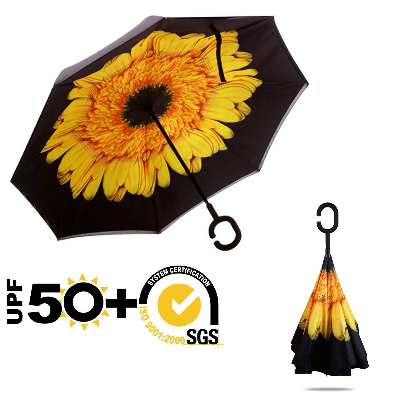 Windproof UPF 50 Black ABCCANOPY Inverted Umbrella,Double Layer Reverse Rain/&Wind Teflon Repellent Umbrella for Car and Outdoor Use Big Straight Umbrella with C-Shaped Handle