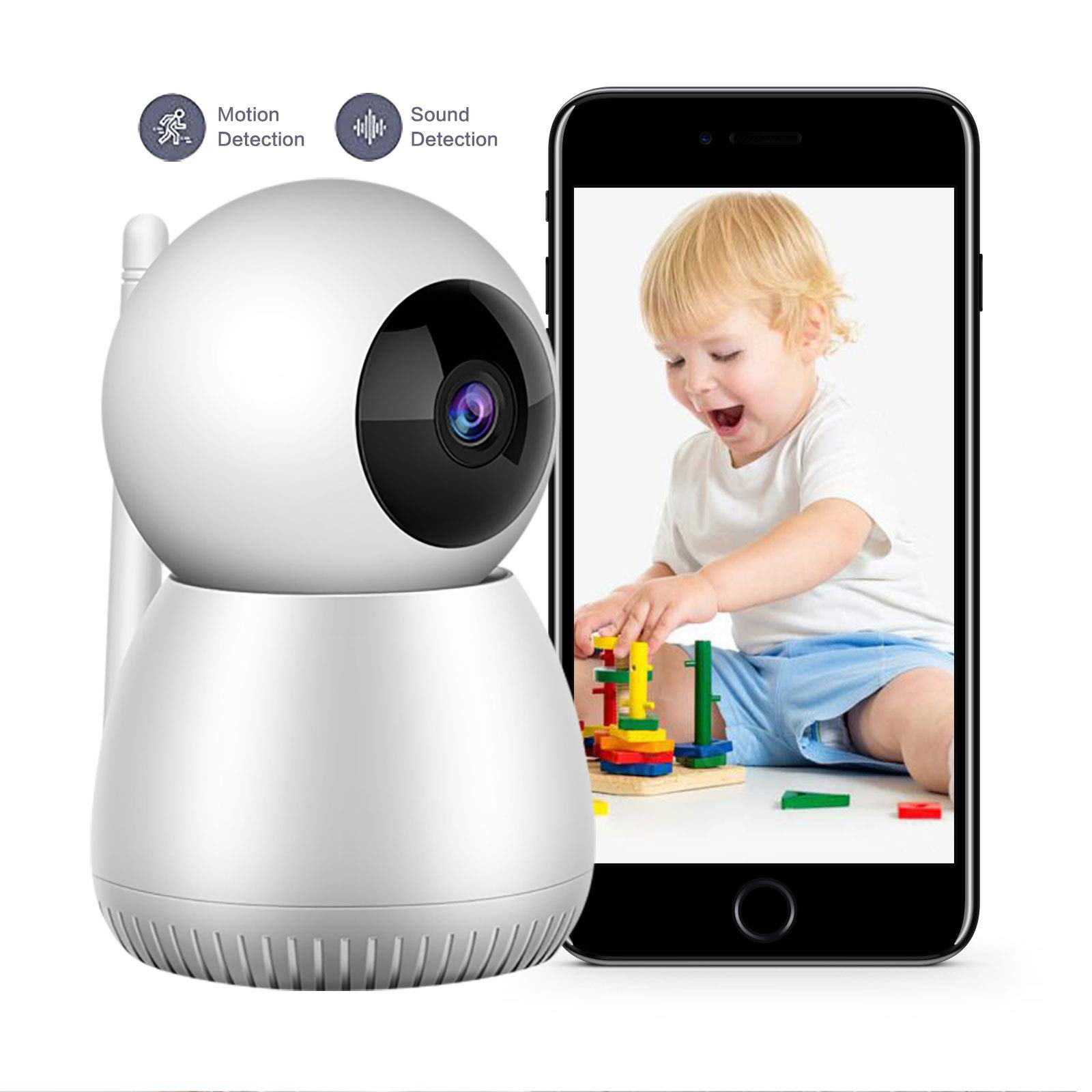 Baby Monitor,1080P FHD Home WiFi Security Camera Sound Motion Detection with Night Vision 2 Way Audio Cloud Service Monitor Baby/Elder/Pet Compatible with iOS/Android by Cuwada