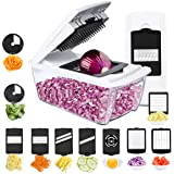 TATUFY Onion Chopper Pro Mandoline Slicer Dicer 10 in 1 Adjustable Food Cutter,Cheese Grater Heavy Duty Multi-Veggie-Fruit-Spiralizer Zoodle Maker Best Kitchen Gadget and Gifts