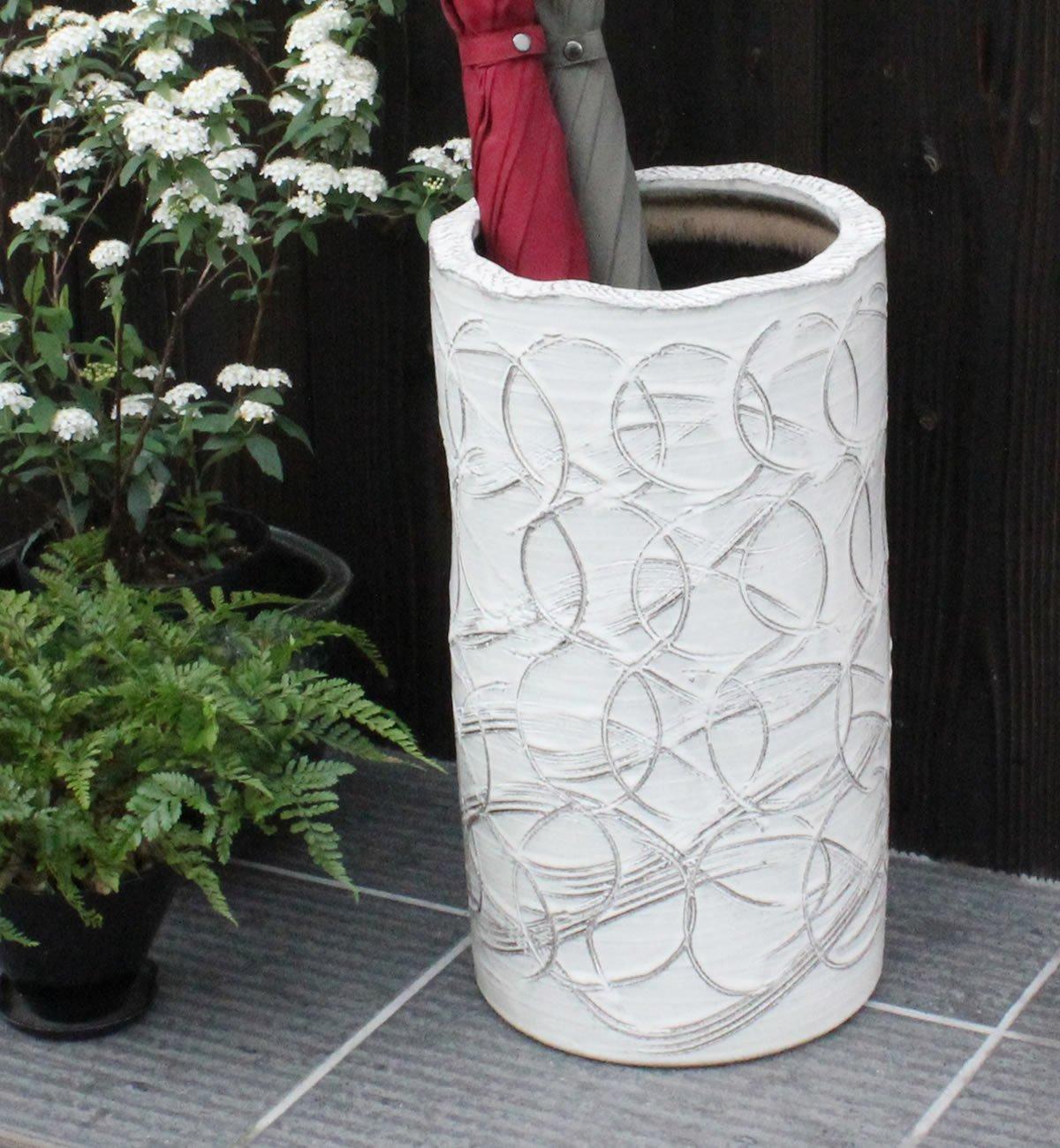 信楽焼 白マット線彫傘立て しがらき焼 笠立て 陶器 おしゃれ kt-0267 B01MZ9G3MX