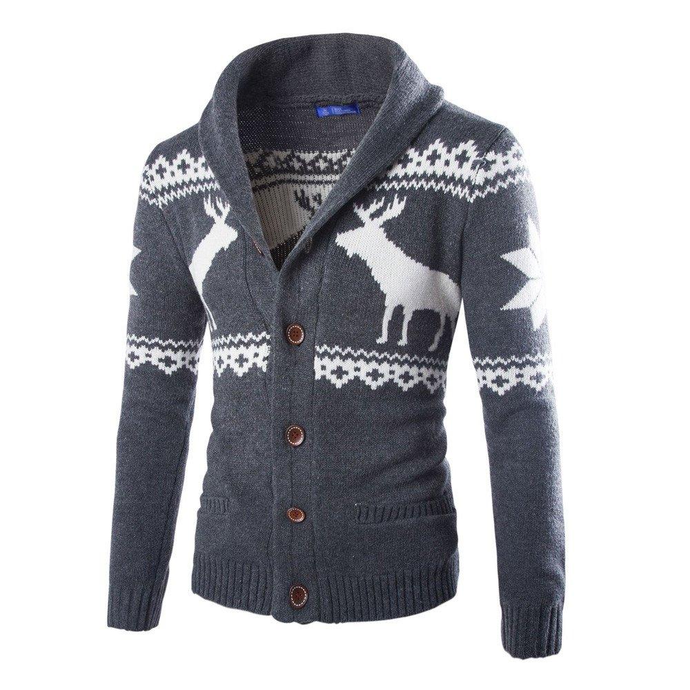 Seaintheson Mens Cardigan Sweater,Christmas Print Knitwear Jacket Coat Button Standing Collar Long Sleeve Sweatshirt Coat Dark Gray by Seaintheson_Men's Clothes