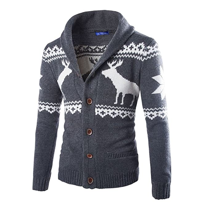 Men's Vintage Sweaters – 1920s to 1960s Retro Jumpers MIRRAY Mens Knitwear Mens Autumn Winter Christmas Deer Classic Sweater Man Open Front Cardigan Xmas V-Neck Jumper Large Size Coats Sports Sweatshirt Slim Button Tops Blouse £16.69 AT vintagedancer.com
