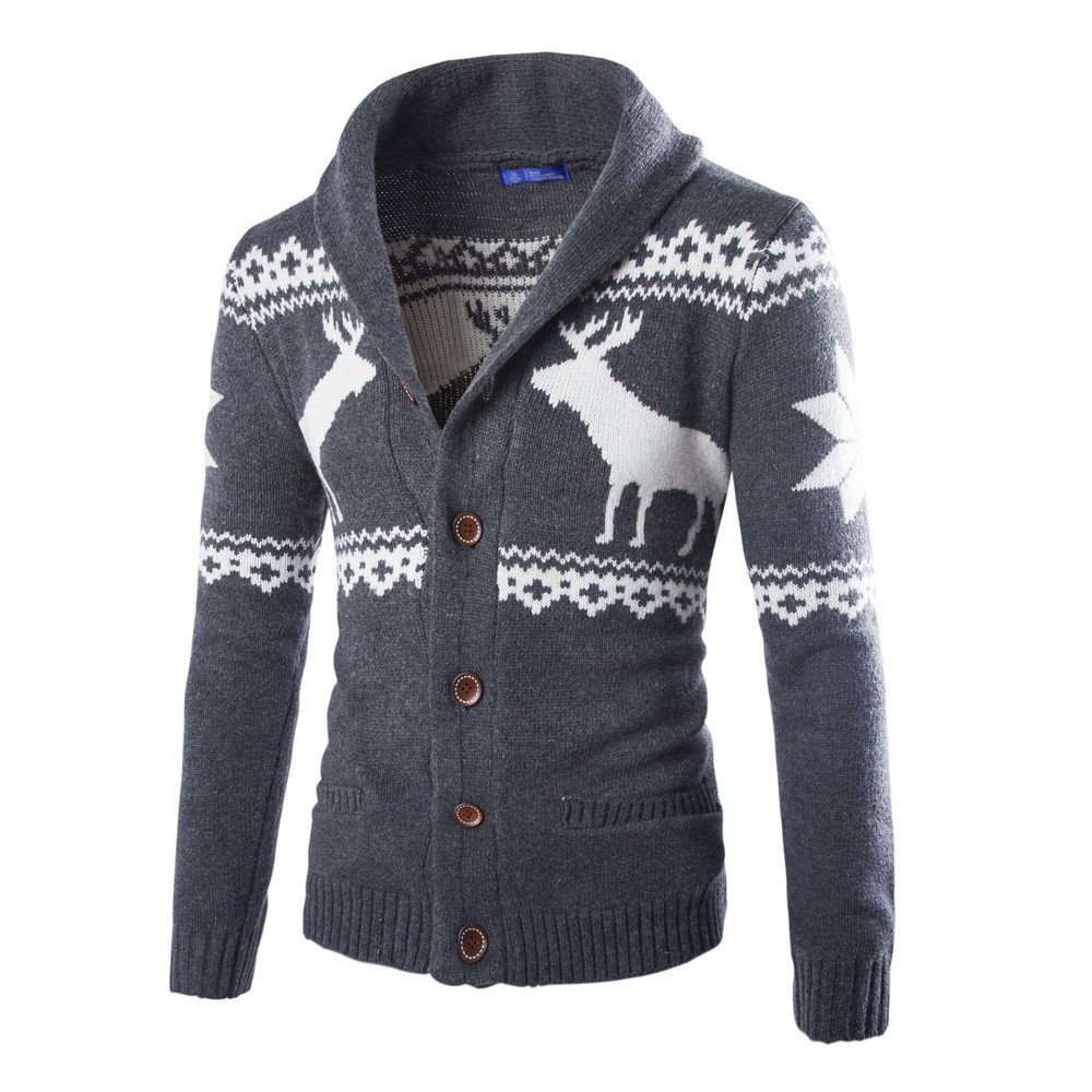 PASATO Classic Men's Winter Christmas Sweater Cardigan Xmas Knitwear Coat Jacket SweatshirtClearance Sale(Dark Gray, M=US:S)