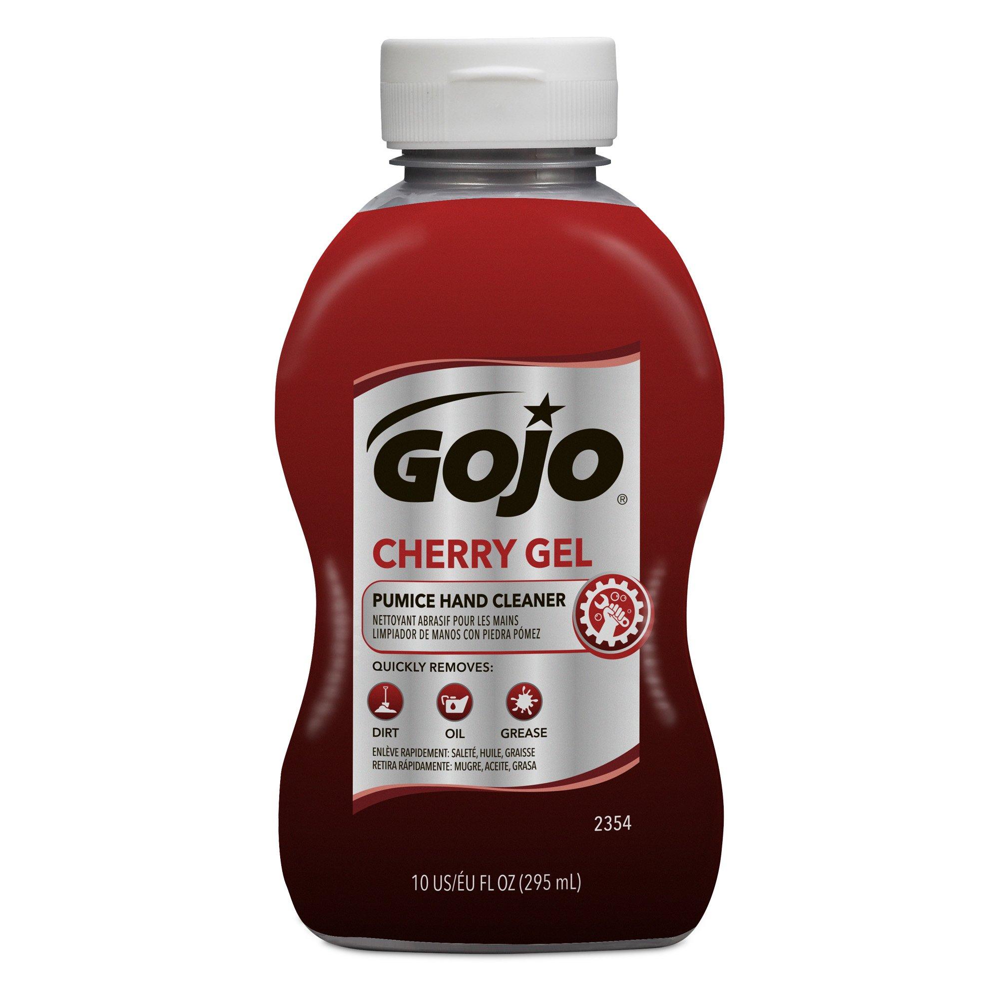 GOJO Cherry Gel Pumice Hand Cleaner, Cherry Fragrance, 10 fl oz Heavy Duty Hand Cleaner Flip Cap Squeeze Bottle (Case of 8) - 2354-08 by Gojo (Image #2)