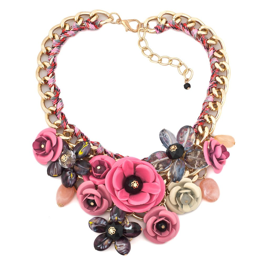 HoBST Party Pink Flower Crystal Floral Statement Necklace Choker Chunky Pendant Jewelry For Women