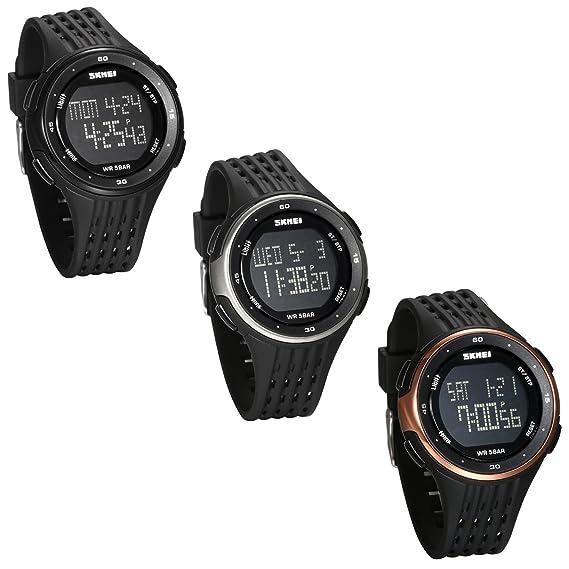 JewelryWe 3PCS Reloj Digital Deportivo para Hombres, Tiempo Dual Multifunciones Reloj Grande, 5ATM Impermeable Relojes para Aire Libre, Regalo para Chicos ...