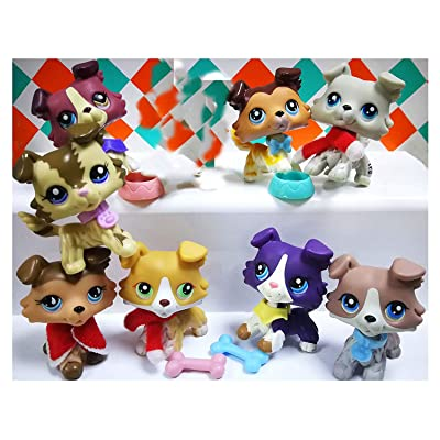 LPSOLD Old LPS Collie 67 272 2210 893 1262 363 1676 58 Raised Paw Blue Eyes Dog Puppy Lot with Accessories Lot Collection Toy Figure Girls Boys Gift 9 PCS: Pet Supplies