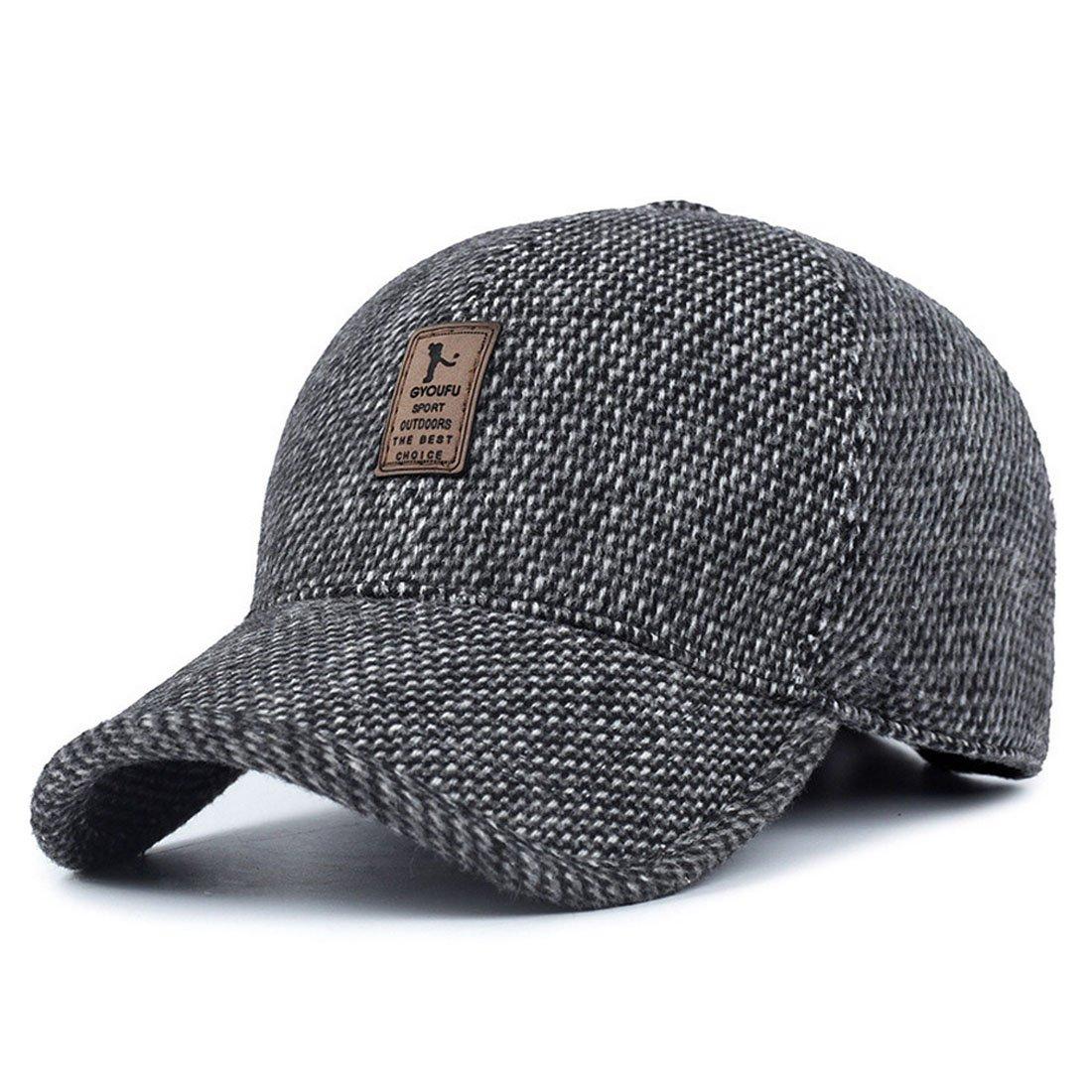 2e10369d REGITWOW Men's Warm Wool Woolen Tweed Peaked Baseball Caps Hat with Fold  Earmuffs Warmer Black at Amazon Men's Clothing store: