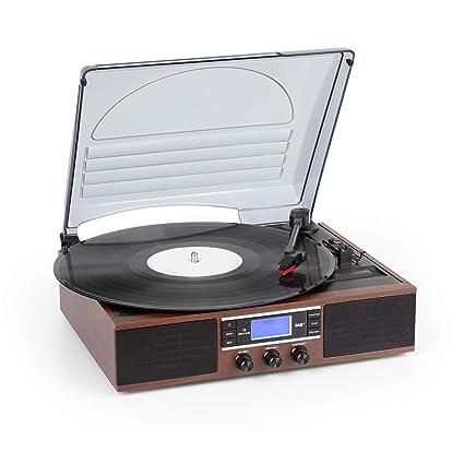 auna TT-138 Dab Tocadiscos - Sintonizador de Radio Dab+/FM, 2 Altavoces Integrados, Transmisión por Correa, 2 velocidades: 33 y 45 RPM, Pantalla Dot ...