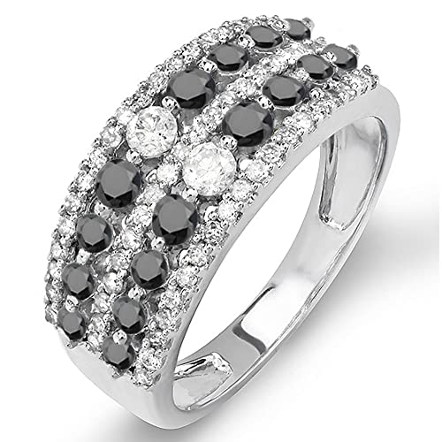1.15 Carat (ctw) 10K Gold Round Black & White Diamond Ladies Anniversary Wedding Band Ring