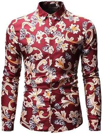 YFSLC-Studio Camisa De Manga Larga Hombre,Rojo Hombres ...