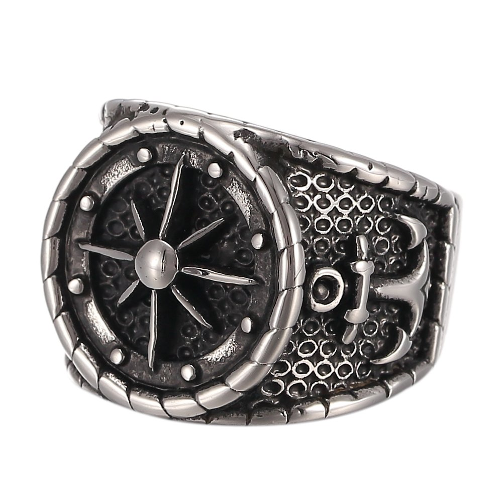 316L Men's Stainless Steel Black Silver Vintage Anchor Nautical Compass Ring JHN050