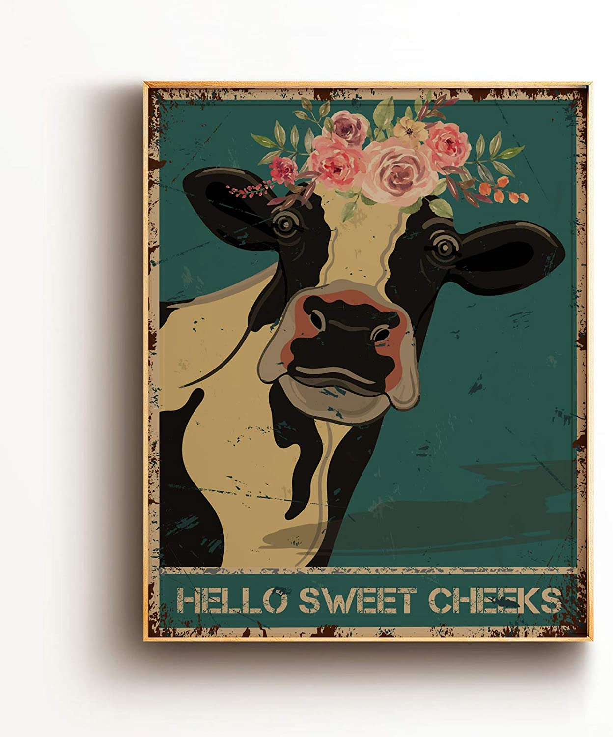 Funny Bathroom Quote Wall Art Print Poster Decor - Vintage Hello Sweet Cheeks Cow Poster for Office/Home/Classroom Decor Gifts - Best Farmhouse Decor Gift Ideas for Women Men Friends - 8x10 Unframed