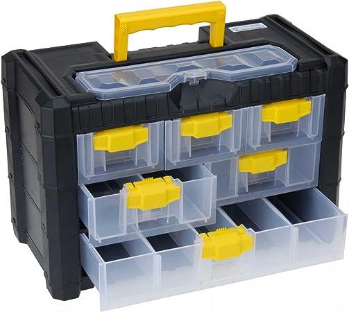 Caja organizadora de plástico (40 x 20 x 26 cm) surtido de box, 6 cajones, mango de madera de: Amazon.es: Hogar