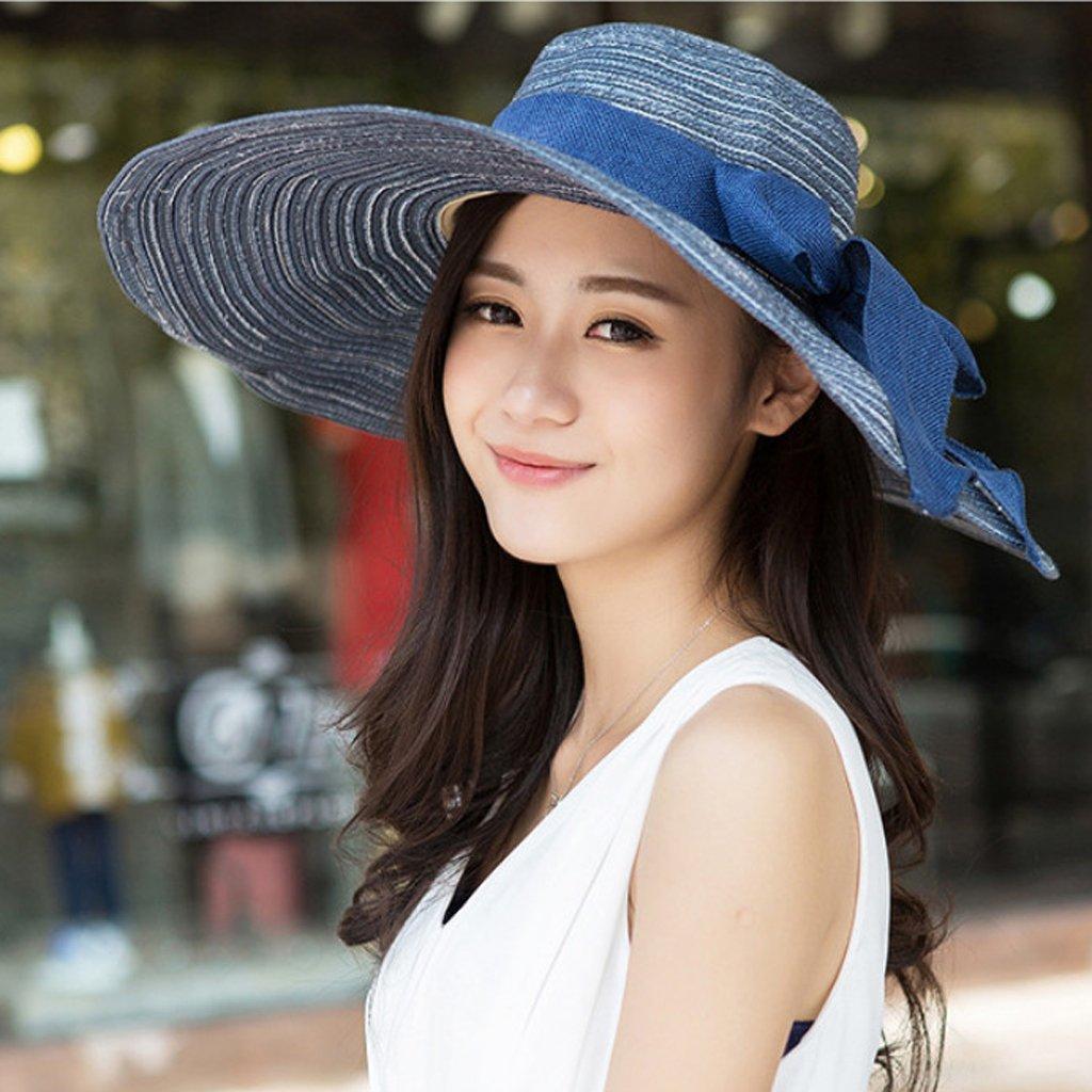 0e4f49bb1f223 Vêtements Générique Les Femmes Chapeau De Plage en Paille Chapeau Large  Bord pour Eté avec Bowknot ...