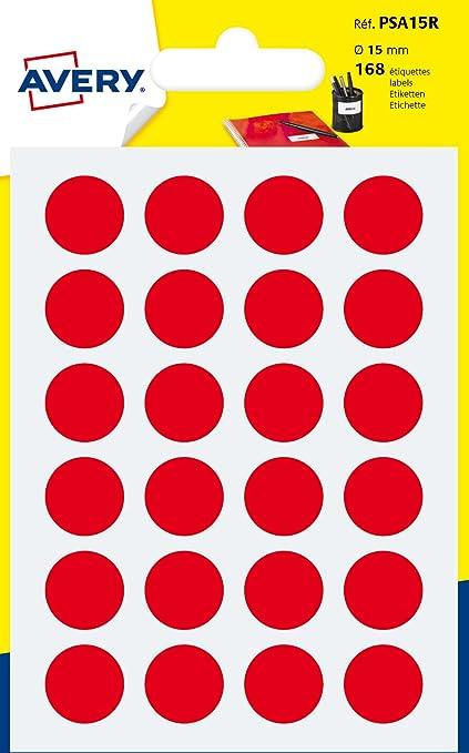 Avery España PSA15R - Pack de 168 gomets, color rojo: Amazon.es: Oficina y papelería