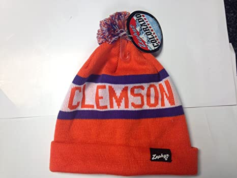 newest 388f1 7986b ... best clemson tigers knit cap with pom e97c4 dbe9a