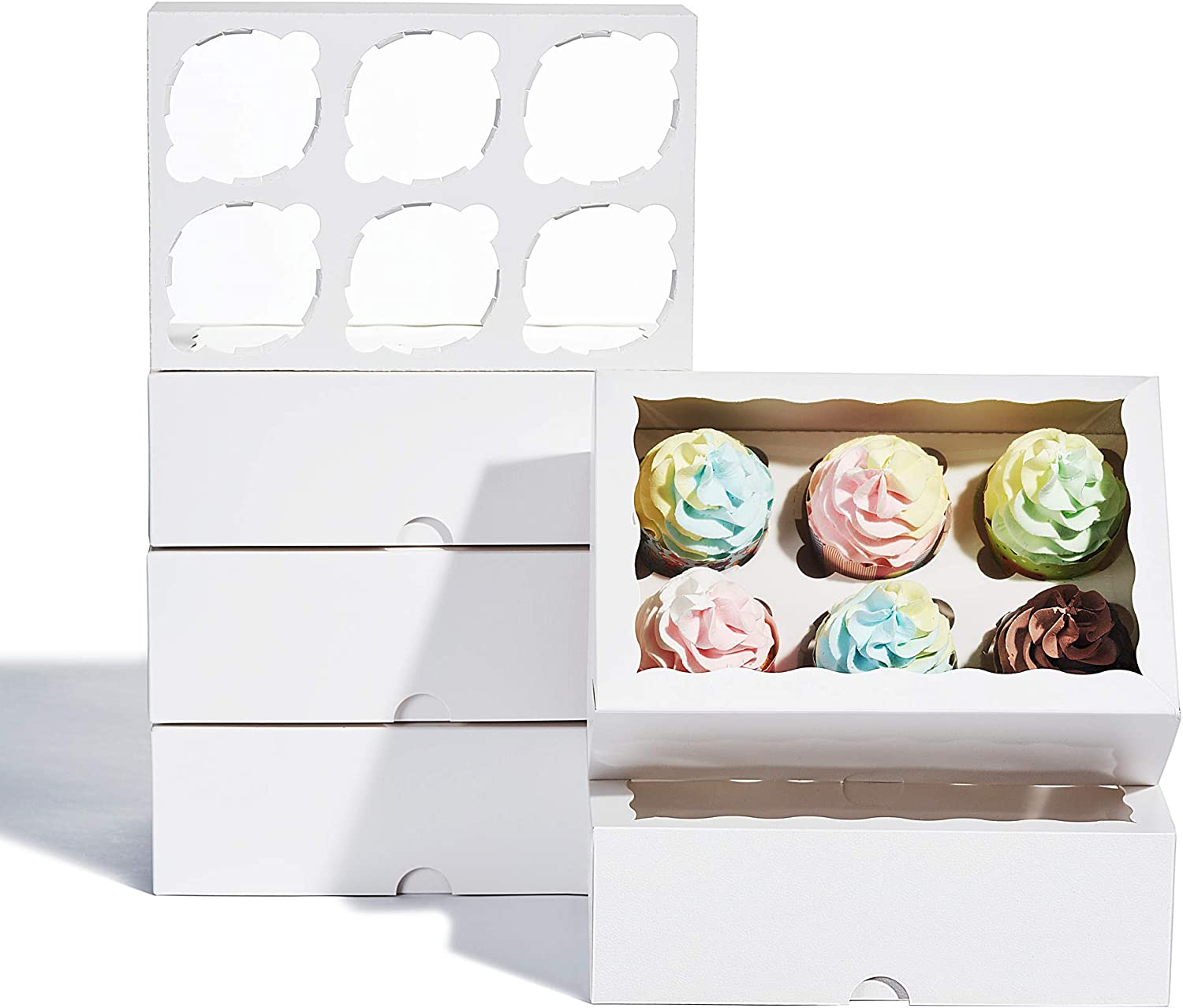 24 Pack Premium White Cupcake Boxes with Inserts and Window,9 x 6 x 3 Inch Food Grade Bakery Boxes,Cupcake boxes for 6 Cupcake,cookies or muffins