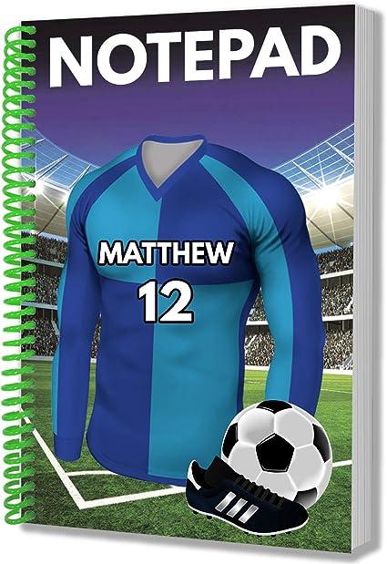 Regalo personalizado – Camisa azul de fútbol – Cuaderno A5 – Cumpleaños – Navidad – Calcetín – Papá Noel secreto – añadir cualquier nombre y número, color Wycombe Wanderers: Amazon.es: Oficina y papelería