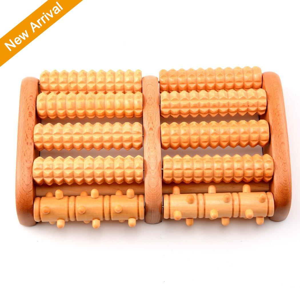 Hangrui Rodillo de madera masajeador para pies; rodillo doble de madera de