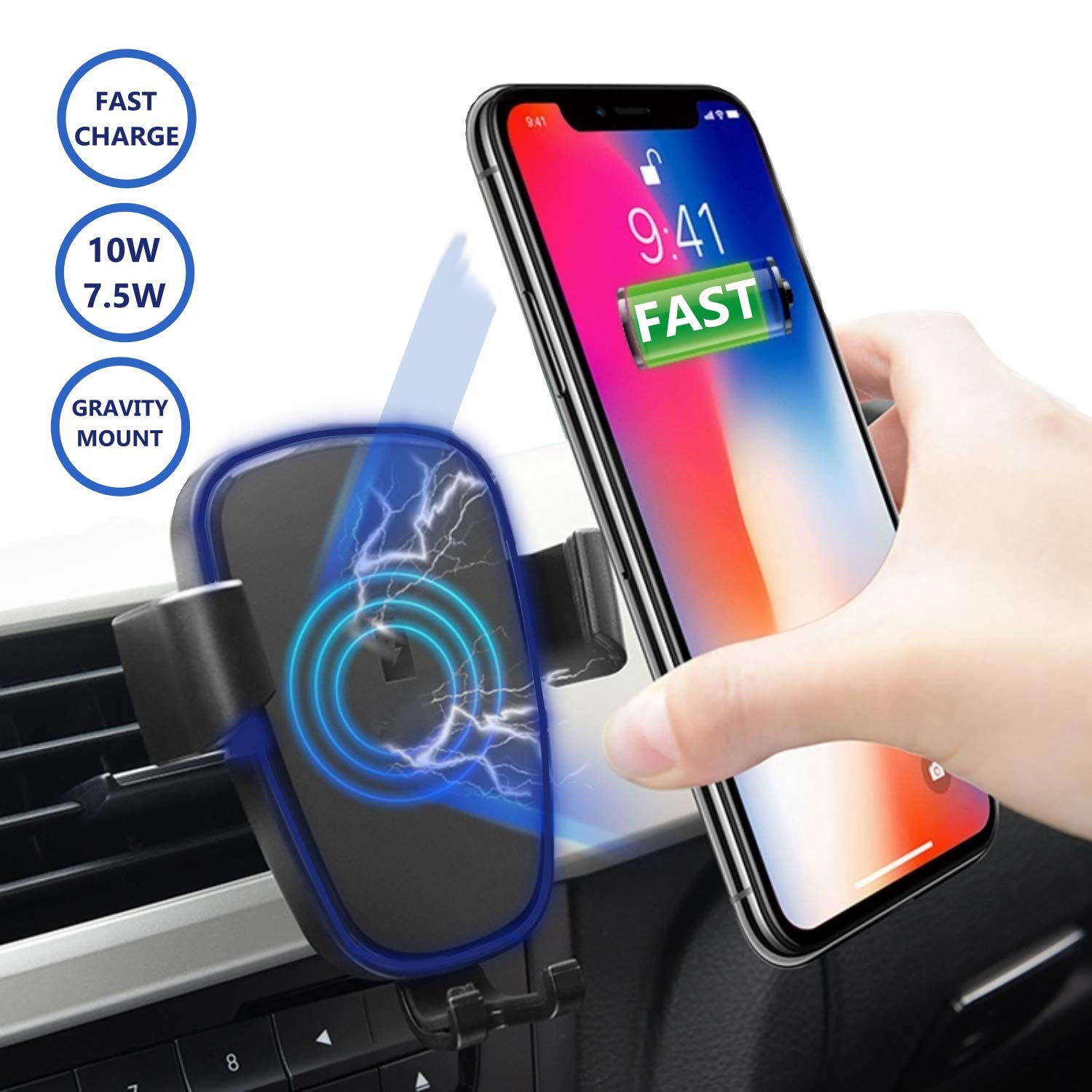 Upgraded 2in1 10W Wireless Car Charger Mount Fast Wireless Charger and Gravity Air Vent Car Mount Compatible with iPhone X//Xs//Xs Max//XR//8 Plus Samsung Galaxy S9//S8//S7//S6 Charging Qi Phone Devices Yzyway