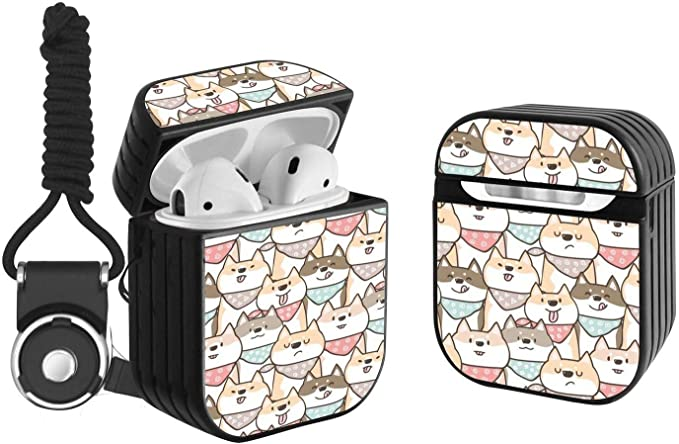 Compatible with Airpods 2 /& 1 Shockproof Portable Protective Hard Cover Case with Neck Lanyard Strap with Cute Doodle Sloth