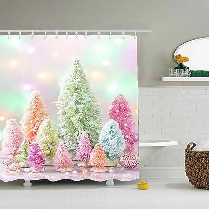Dulce Color familia decorada cortinas de ducha, resistente al agua,,, tela de