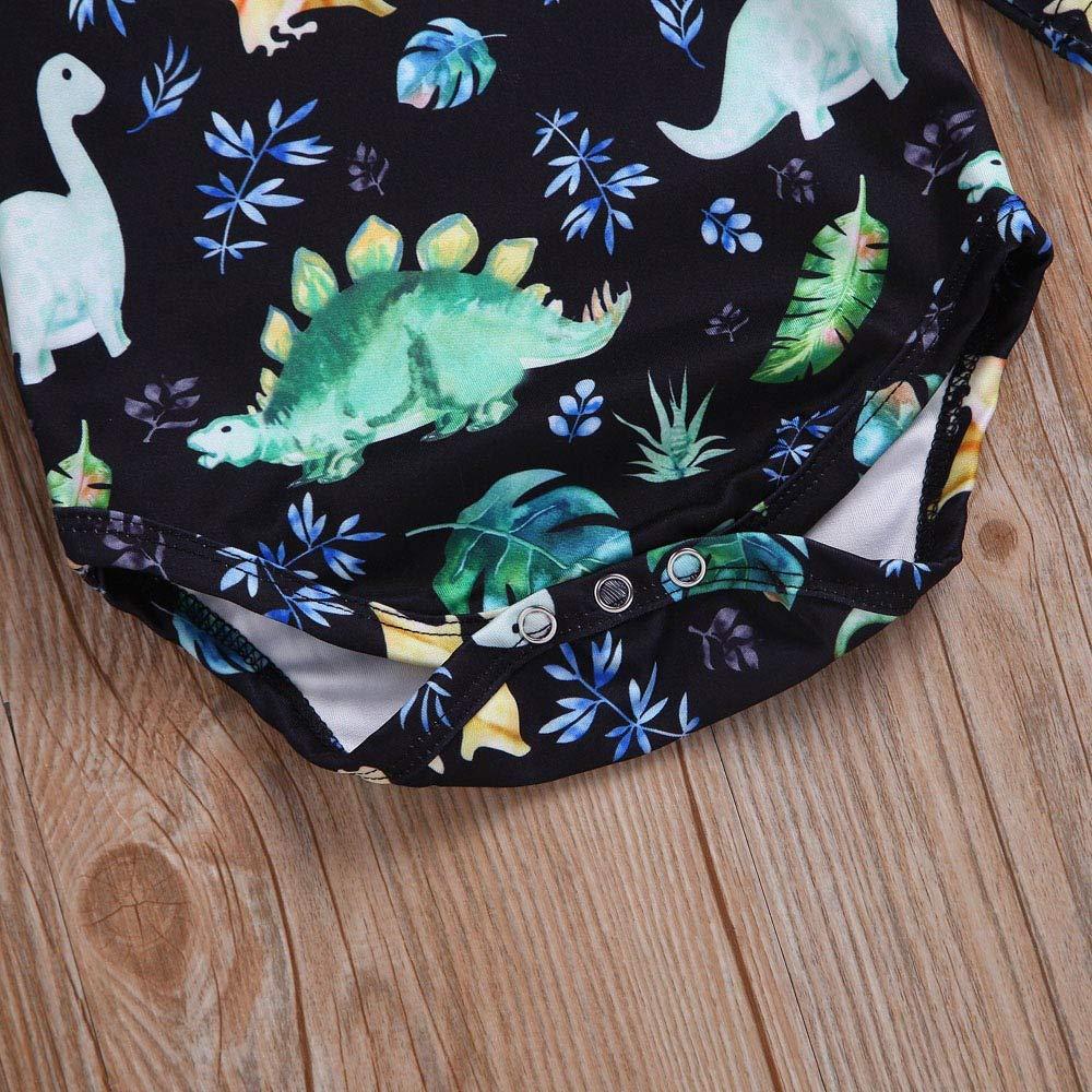 2PCS Baby Boys Girls Dinosaur Romper Vinjeely Long Sleeve Fall Winter Clothes Set