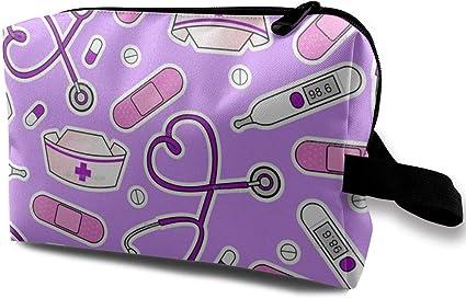 Enfermera Imprimir Púrpura Portátil Maquillaje de Viaje Cosmético Bolsas Organizador Estuche multifunción Bolsas de Aseo: Amazon.es: Belleza