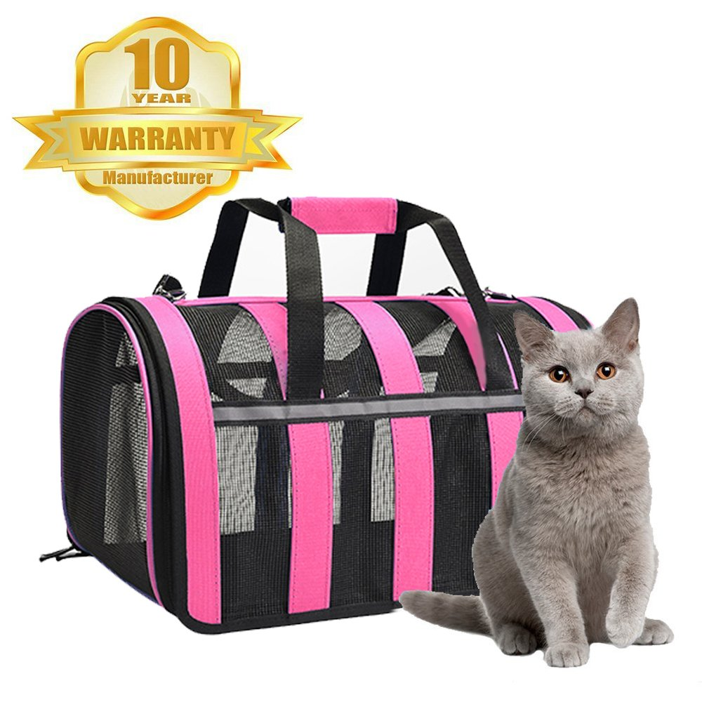 Portable Pet Carrier-Pink Cat Carrier Portable Pet Carrier-Small Dogs,Puppy, Cats Travel Carrier Soft Sided Tote Bag Purse,Airline Approved, Perfect for Small Animals (Pink)