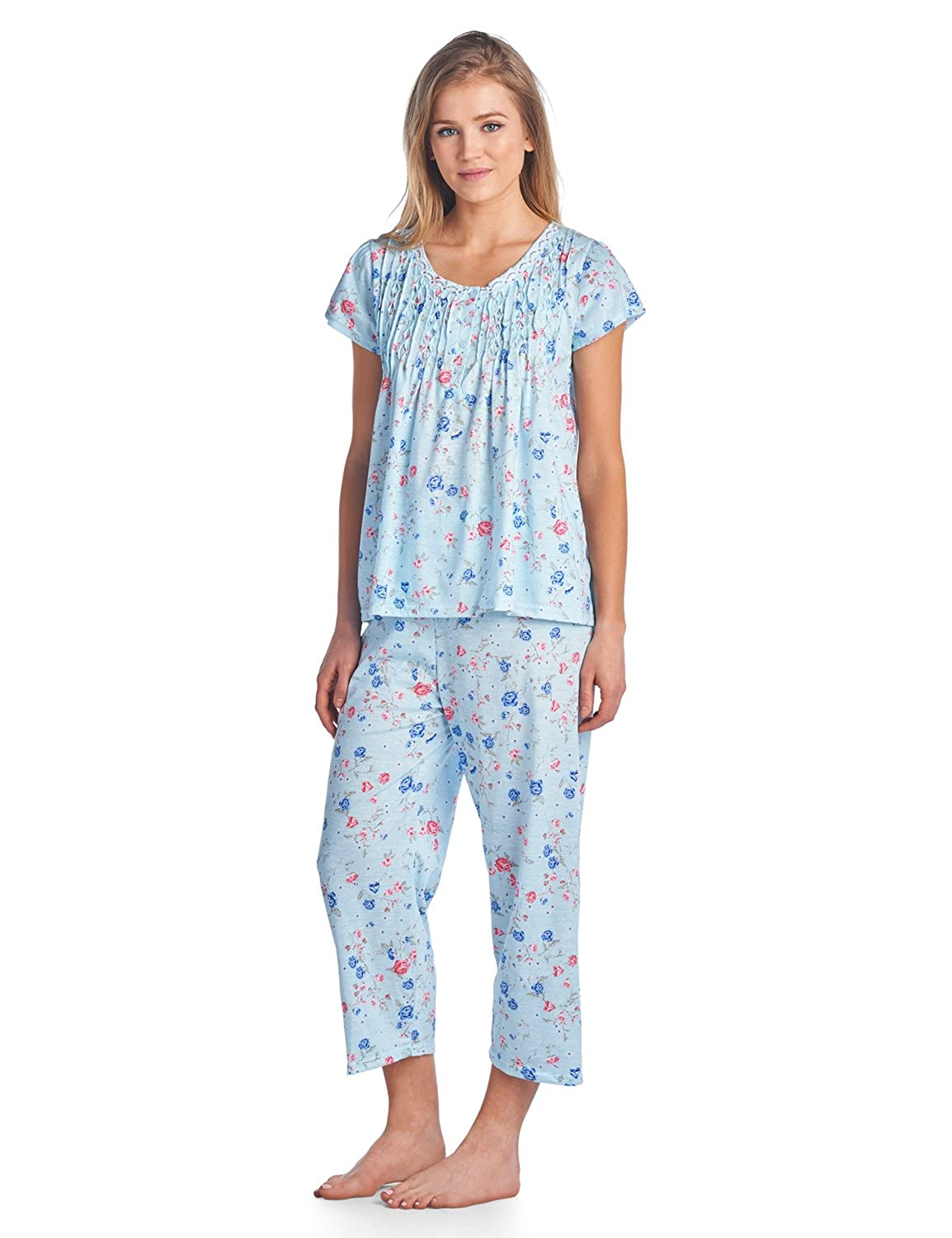 Casual Nights Women s Short Sleeve Capri Pajama Set at Amazon Women s  Clothing store  d5700349f