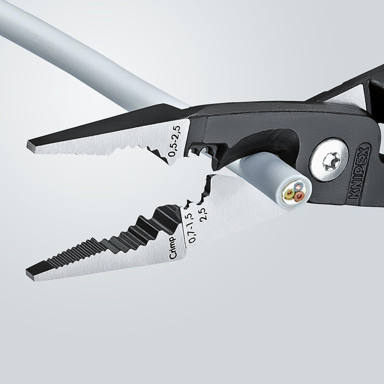 KNIPEX 13 81 200 Pince pour installations /électriques noire atramentis/ée gain/ées en plastique 200 mm