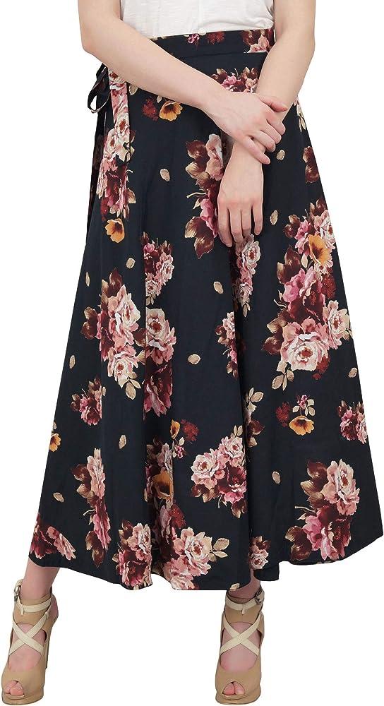 Phagun Use Verano Impreso Floral de algodón Negro Reversible de ...