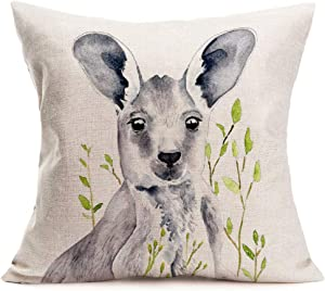"Tlovudori Decorative Throw Pillow Covers Oil Painting Animal Australian Kangaroo Green Leaves Cotton Linen Rustic Farmhouse Throw PillowCase Decor Home Sofa Couch 18""x18"" (Australian Kangaroo)"