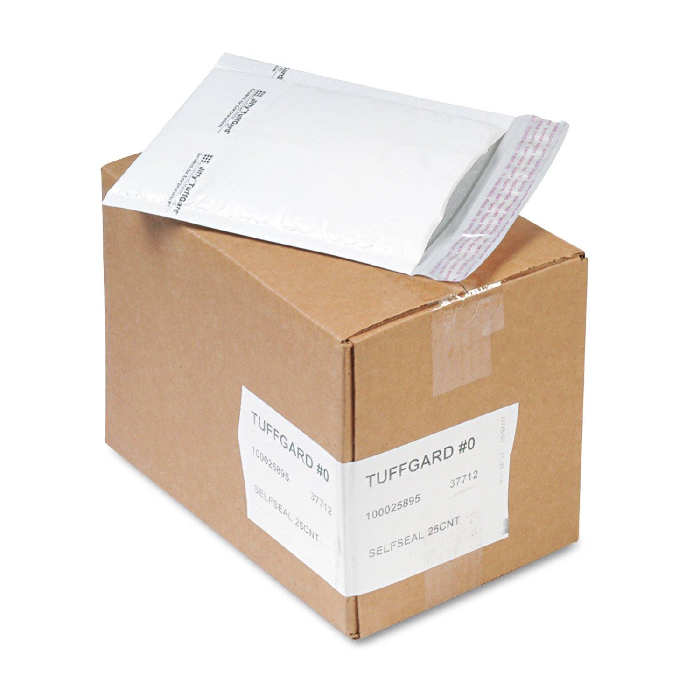 Sealed Air 37712 Jiffy TuffGard Self-Seal Cushioned Mailer #0 6 x 10 White 25//Carton