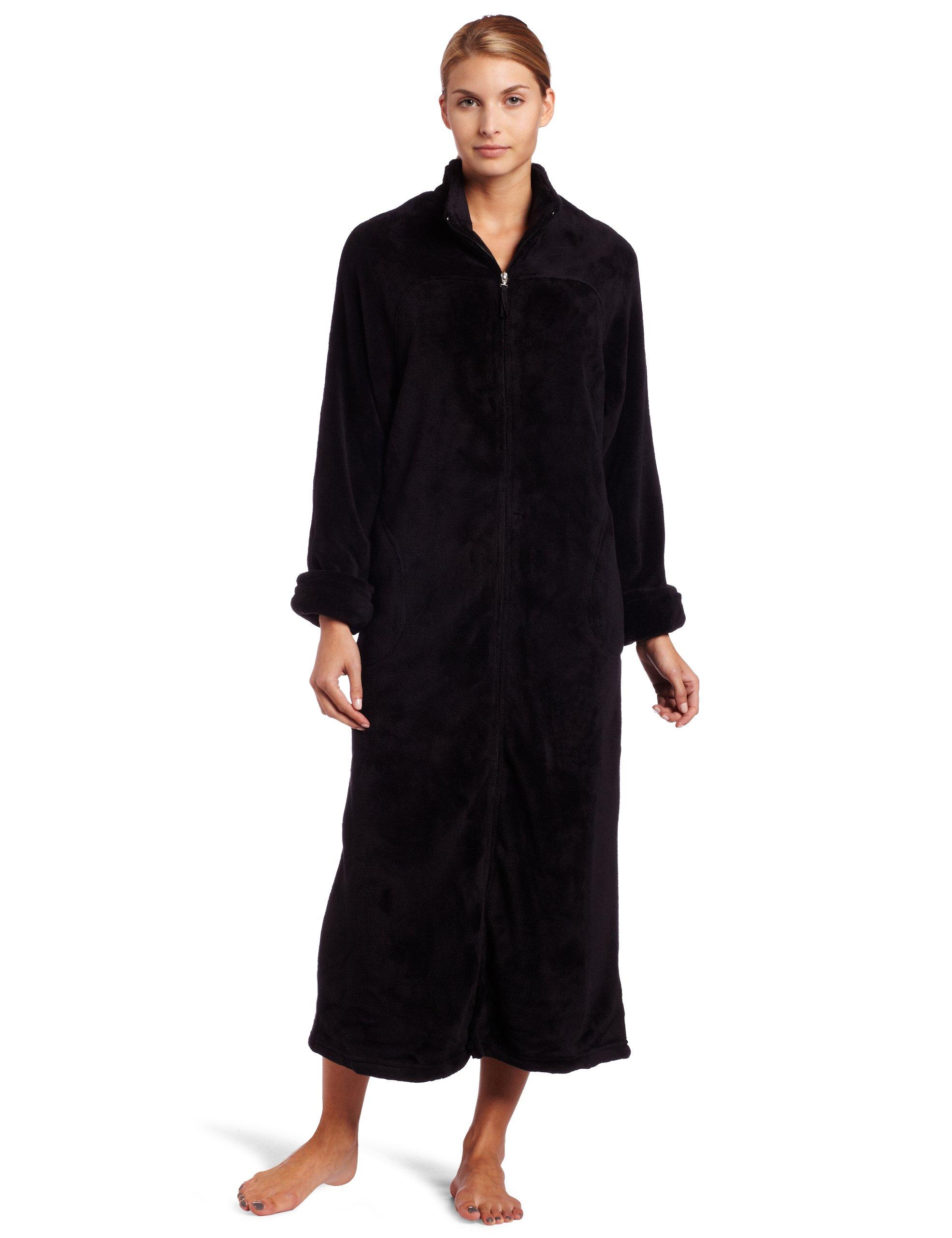 Casual Moments Womens 52 Inch Breakaway Zip Robe, Black, Large