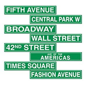 Beistle S50094AZ3 New York City Street Sign Cutouts, Green/White