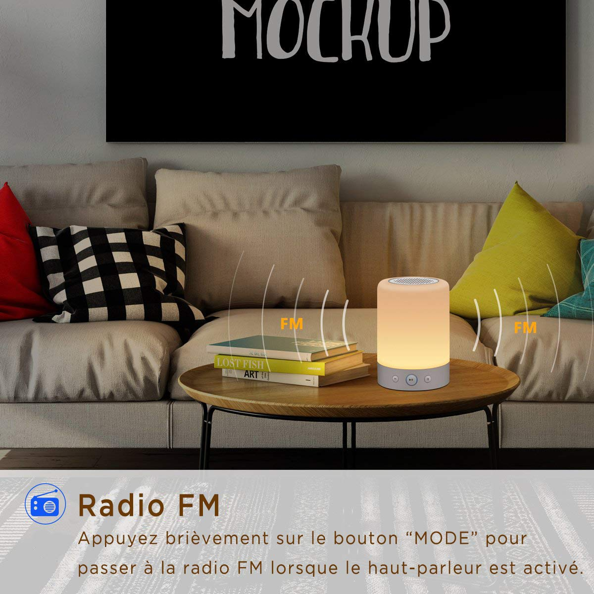 luce bianca calda e RGB colorato. lampada da tavolo portatile ricaricabile per il comodino Solo lampada-Lampada da notte marrado nel soggiorno della camera da letto