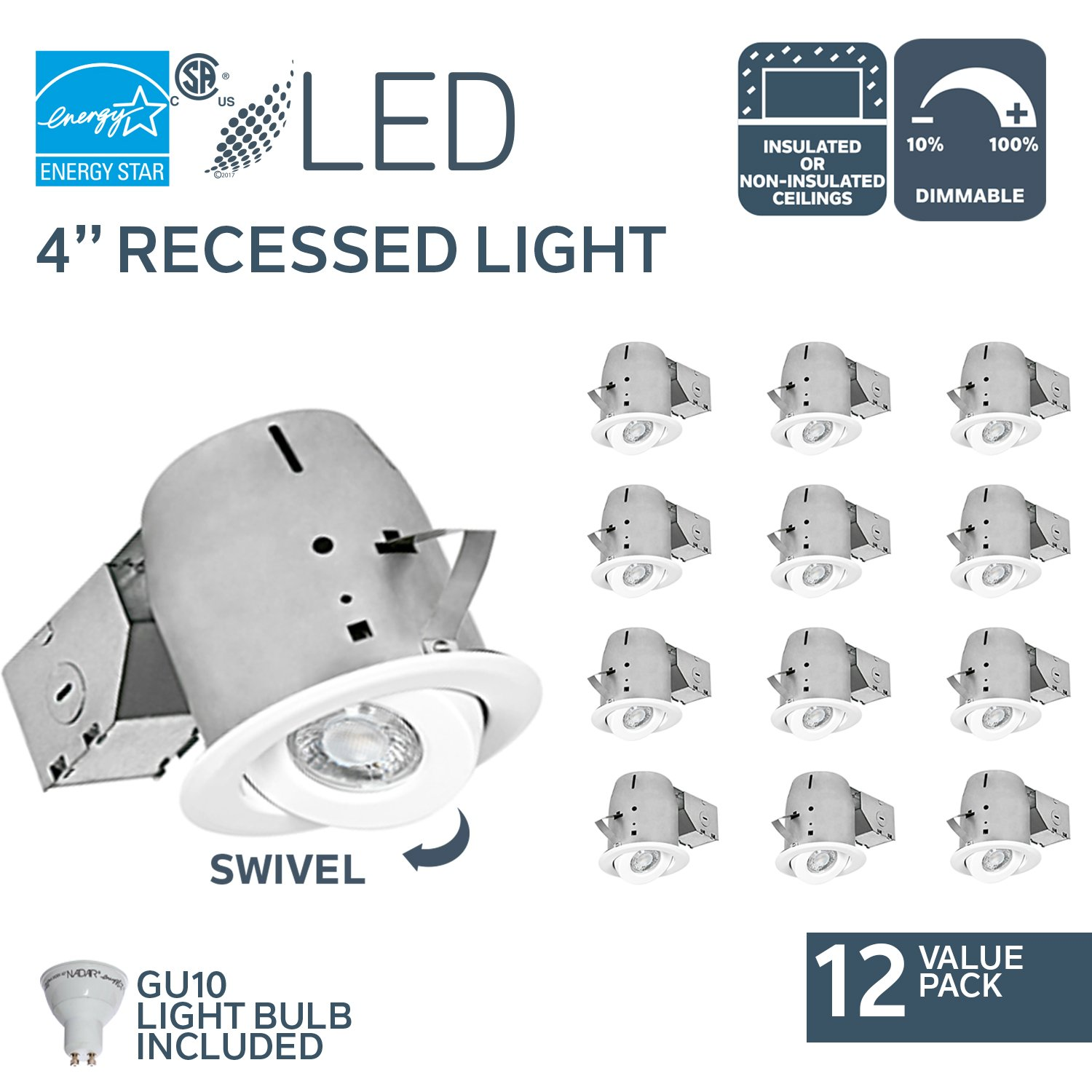 Nadair Swivel Dimmable Downlight Spotlight Recessed Light Energy Star Complete Kit,12 x LED Gu10 550 Lumens Bulb (50W Equivalent) Included, Ic Rated, Warm White, 4'', Pack - CP378L-GU12WH
